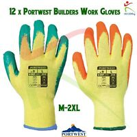 12 x Portwest Rubber Palm Scaffolding and Builders Work Gloves Fortis Grip Glove