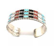 Native American Sterling Silver Zuni 3 / Row Multi Color lnlay Cuff Bracelet