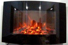 2017 Truflame 88cm Black Glass Wall Mounted Electric Fire With Log Effect
