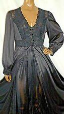 New listing Shadowline Vtg Lacy Black Full Sweep Nightgown & Robe Set ~ Sz L - Nwot!