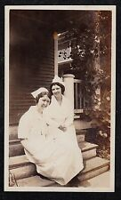 Antique Vintage Photograph Two Nurses in Uniforms Sitting on Steps