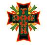 "DOGTOWN ""Cross Logo"" Skateboard Sticker 5cm Small Old Skool RASTA 1970s 1980s"