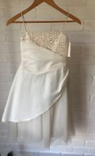 Ivory Satin Tulle & Beaded Flowergirl Dress AS NEW Size 6 Spaghetti Straps