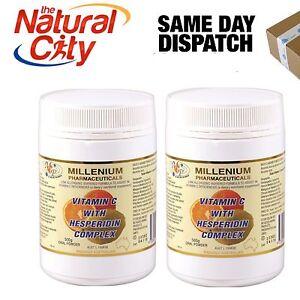 2 x Millenium Vitamin C with Hesperidin Complex powder 500g  - Free Shipping