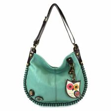 New Chala CONVERTIBLE Hobo Large Tote Bag NEW OWL Pleather gift Teal Green