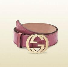 NEW Gucci Imprime GG Canvas Belt Interlocking G Buckle 90/36 Pink 1 114876 6224