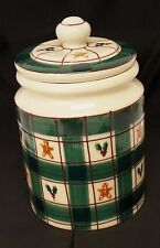 1983 Hartstone Pottery GINGERBREAD MAN Green Plaid Cookie Jar Large Canister