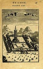 "1683 Genuine Antique print ""Paolinxi"", Temple, Nanking, China. A.M. Mallet"