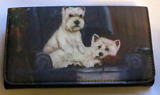 West Highland White Terrier Wallet Westie Dog Checkbook Coin Purse Zipper Black
