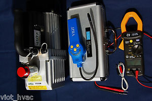 HVAC Tool Kit Deep Vacuum Pump+Refrigerant Leak Detector+True RMS Clamp Ammeter
