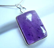 Silver Imported from India New Amethyst Pendant Basic Rectangle 925 Sterling