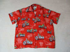 Paradise Found Hawaiian Shirt Adult Extra Large Red White Biker Motorcycle Mens