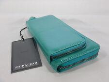 """Women's Aqua Double Zip Around Large Deluxe Wallet Shirleah Vegan 8""""x4""""X1.5""""  T2"""