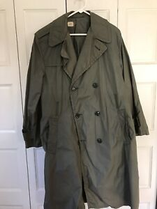 Vintage US ARMY Green Military Rain Coat Trench Coat Jacket Size 40 R Army