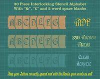 ART NOUVEAU font  30 x 50mm Interlocking Alphabet Stencil tiles set ISA007