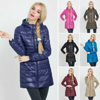Womens Warm Coat Hooded Long Down Jacket Winter Quilted Pad Lightweight Outwear
