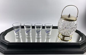 4 X Retro French RICARD Pastis Glasses Bar Cafe Mancave Collectors