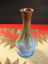 """PIGEON FORGE POTTERY DORIS BOLING 6 1/4"""" T BUD VASE BLUE WITH BROWN OVER GLAZE"""