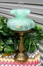 """Fenton 18"""" Student Lamp (Yr 2003) FRUIT DESIGN on Willow Green Opalescent"""