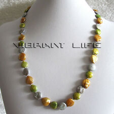 "23"" 11-12mm Multi Color Coin Freshwater Pearl Necklace Gray Green Champagne U"