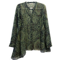 Soft Surroundings M Medium Top Olive Green Tan Print Button Up Long Sleeve 28136