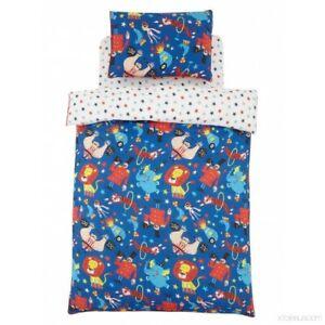 New Childrens Single Duvet Cover Set Circus Fun Blue Lion Bedroom