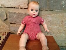 """Vintage 1979 Gerber baby doll 17"""", plastic, eyes move side to side, red gingham"""