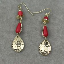 Chico's jewelry antique gold tone drop dangle earrings red stone hoop fishhook