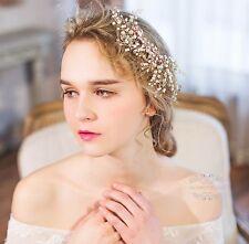 Pearl Wedding Hair Accessories Bridal Clips Golden Flower Piece