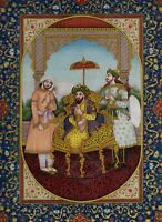 Mughal Miniature Painting Of Emperor Humayun Original Gold On Paper Islamic Art