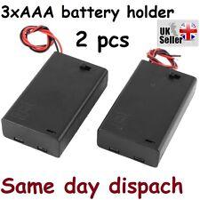 2 x PC custodia in plastica nera Batteria Supporto Con Interruttore 3 x 1.5 V AAA UK STOCK