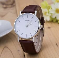 Mens Wrist Watches Watch Analogue Quartz Fashion Leather Strap Black Brown White