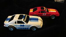 2 TYCO HO SLOT CARS TURBO MUSTANG TRANSFORMERS WHITE / RED