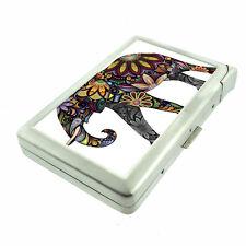Elephant Art D24 Cigarette Case with Built in Lighter Metal Wallet
