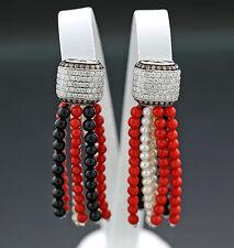 Ohrhänger Perl-Onyx-Koralle Brillanten 1,56 ct mehrfarbig 750-Weißgold (5461)