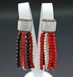 Ohrhänger Perlen Onyx Koralle Brillanten 1,56 ct weiß rot schwarz 750-Weißgold