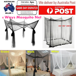 4Corner Bed Canopy Mosquito Net Queen King Size Netting Fly Insect Protection AU