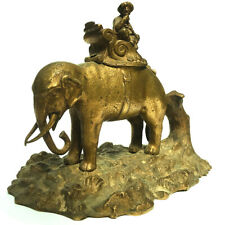 A BEAUTIFUL ANTIQUE 19th C GILT BRONZE ELEPHANT & ARAB FIGURE INKWELL / INKSTAND