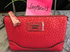NEW! GUESS OFARRELL MINI SIGNATURE G LOGO  CROSSBODY PURSE BAG TOTE LIPSTICK RED
