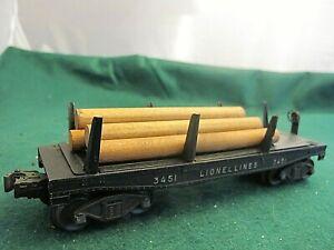 Lionel 3451 Log Dump Flatcar Black Postwar O GaugeW LOAD ~ tested and works