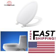 White Stonewood Elongated Closed Front Toilet Seat Color-Matched Plastic Hinge