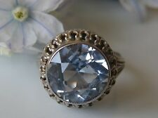 Antiker Ring 800° Silber Solitär echter Blautopas Gr.54 Jugendstil um 1900 R437