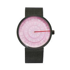 "Mykonos Design ""Visus Rosa"" Cuarzo Acero Inox Negro Malla Discos Reloj Unisex"