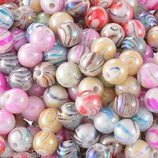 "300PCs Acrylic Spacer Beads AB Color Stripe Pattern Round Mixed 8mm( 3/8"")Dia."