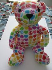 "Beeposh Melissa & Doug 18"" groovy plush bear hearts peace signs hope bear #7200"
