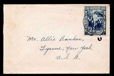 Belgian Congo C.B.M. Mission Mail Franked with Sc #B25 - 2/17/38 Kikwit - USA