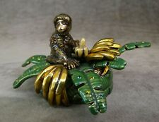 WENDY REED JEWELED AND ENAMELED PAPERWEIGHT, MONKEY, BANANA TREE