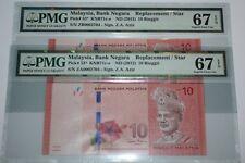 (PL) NEW: RM 10 ZA & ZB 0002704 PMG 67EPQ 3 ZERO ZETI SAME LOW NUMBER UNC - RARE