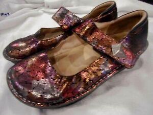 Alegria PG Lite PAL-430 Paloma Mary Jane Clog Nursing Shoes Sz 40 Gray Purple