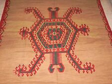 Vintage Anatolian Exotic Motif Slitweave Kilim Boca Estate Turkish Wool Area Rug